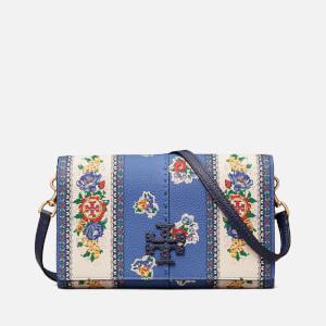 Tory Burch Women's Mcgraw Floral Wallet Cross Body Bag - Blue Tea Rose Border
