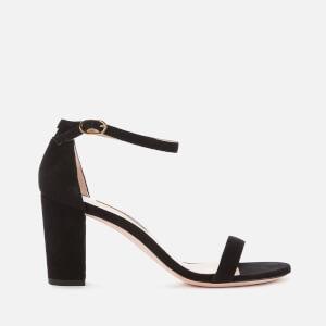 Stuart Weitzman Women's Nearlynude Suede Block Heeled Sandals - Black