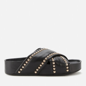 Simon Miller Women's Spur Leather Slide Sandals - Black/Studs