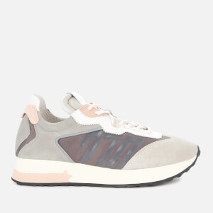 Ash Women's Tiger Suede/Nylon Running Style Trainers - Light Grey/White/Nude