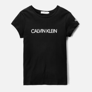 Calvin Klein Girls' Institutional T-Shirt - CK Black