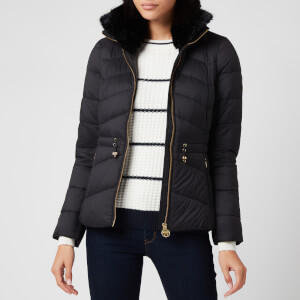 Barbour International Women's Halfback Quilt Fur Collar Coat - Black
