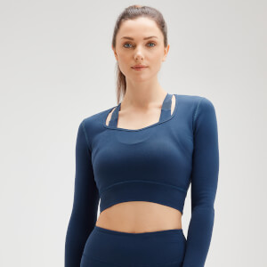 MP Women's Power Open Back Crop Top - Dark Blue
