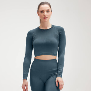 Naisten MP Shape Seamless Ultra Long Sleeve Crop -toppi − Deep Sea Blue