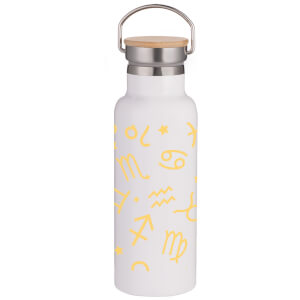 Horoscope Pattern Portable Insulated Water Bottle - White
