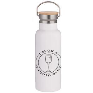 Liquid Diet Portable Insulated Water Bottle - White
