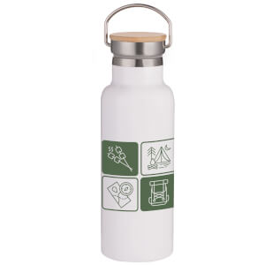 Camping Icons Portable Insulated Water Bottle - White