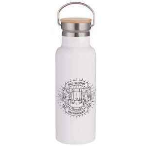 Old School Backpacker Portable Insulated Water Bottle - White