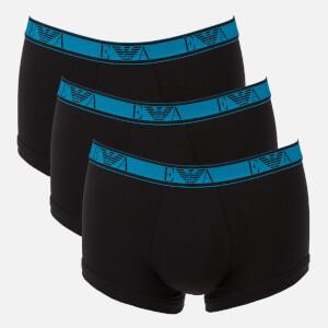 Emporio Armani Men's Monogram 3 Pack Trunk Boxer Shorts - Blue