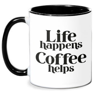 Life Happens, Coffee Helps Mug - White/Black