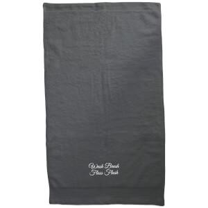 Wash Brush Floss Flush Embroidered Towel