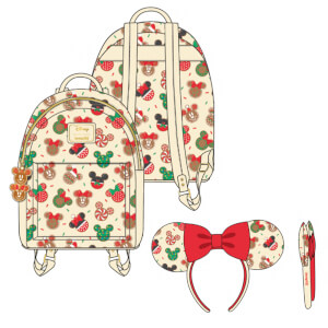 Loungefly Disney Mickey & Minnie Christmas Cookies Mini Backpack Headband Combo