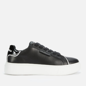 Karl Lagerfeld Women's Maxi Kup Lo Lace Leather Flatform Trainers - Black