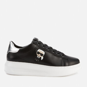 Karl Lagerfeld Women's Kapri Karl Ikonic Lo Lace Leather Flatform Trainers - Black