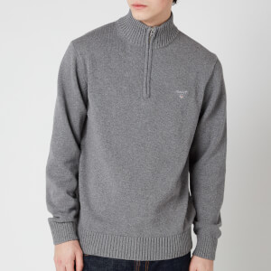 Gant Men's Casual Cotton Half Zip Sweatshirt - Dark Grey Melange