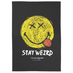 Smiley Stay Weird Tea Towel