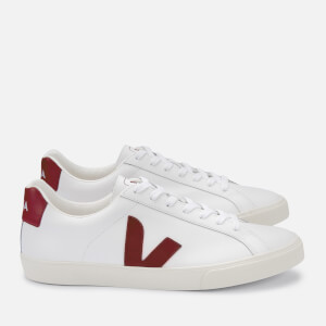 Veja Men's Esplar Logo Leather Trainers - Extra White/Marsala