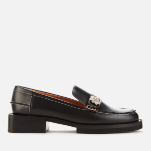 Ganni Women's Jewel Leather Loafers - Black
