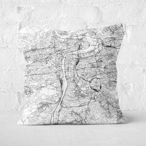 Prague City Map Square Cushion
