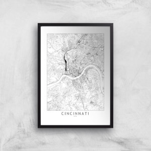 Cincinnati Light City Map Giclee Art Print