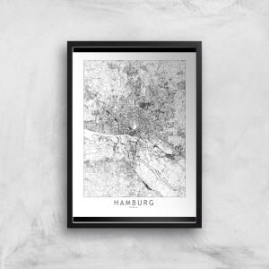 Hamburg Light City Map Giclee Art Print