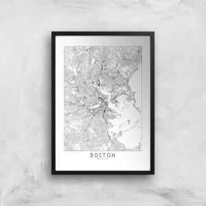 Boston Light City Map Giclee Art Print