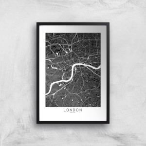 London Dark City Map Giclee Art Print