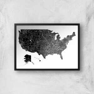 United States Of America Land Mass Dark Map Giclee Art Print