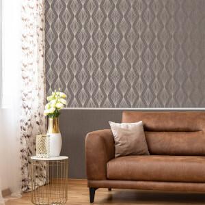 Boutique Smokey Quartz Marquise Geometric Wallpaper