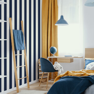 Superfresco Easy Navy Vintage Striped Wallpaper