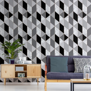 Sublime Charcoal Marble Geometric Wallpaper