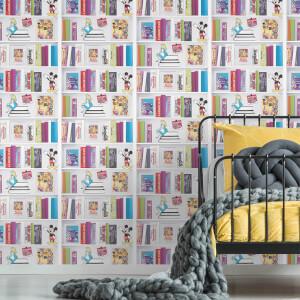 Disney Multi Character Bookshelf Wallpaper
