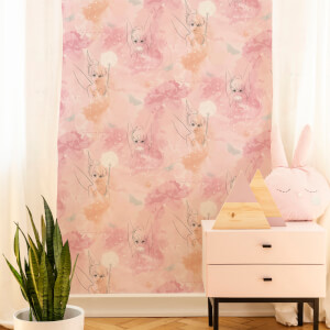 Disney Tinkerbell Watercolour Pastel Pink Wallpaper