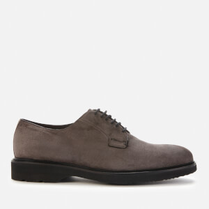 Canali Men's Suede Lace-up Crepe Sole Derby Shoes - Grey