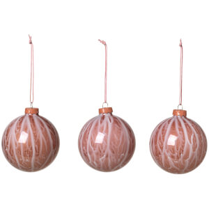 Broste Copenhagen Marble Bauble - Set of 3 - Rose