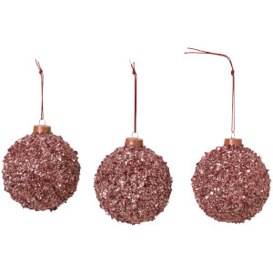 Broste Copenhagen Glitter Bauble - Set of 3 - Red