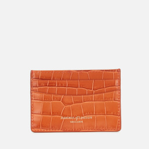 Aspinal of London Women's Slim Credit Card Case Deep Shine Small Croc - Marmalade