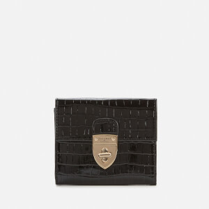 Aspinal of London Women's Small Mayfair Purse with Chain Small Croc - Black