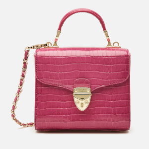 Aspinal of London Women's Mayfair Micro Deep Shine Small Croc Bag - Hibiscus