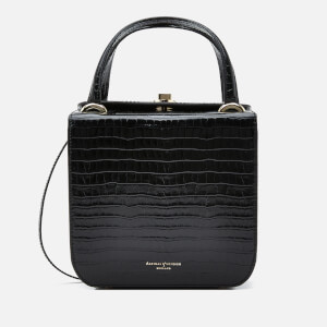 Aspinal of London Women's Gigi Deep Shine Small Croc Bag - Black