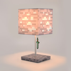 Minecraft Diamond Ore Block Desk Lamp with 3D Diamond Sword Puller - 14 Inch