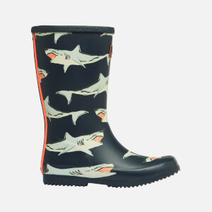 Joules Kids' Roll Up Welly Print Wellies - Navy Sharks