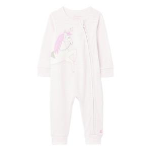 Joules Babies' Winfield Zip Babygrow - Lilac Stripe Unicorn