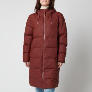 RAINS Women's Long Puffer Jacket - Maroon