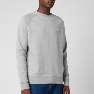 Maison Kitsuné Men's Tricolor Fox Patch Sweatshirt - Grey Melange