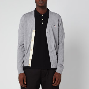 Maison Kitsuné Men's Classic Tricolor Fox Patch Cardigan - Grey Melange