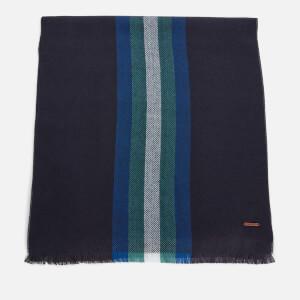 Ted Baker Men's Montegu Herringbone Stripe Design Scarf - Navy