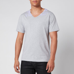 Maison Margiela Men's V-Neck Charity T-Shirt - Grey Melange/Lilac