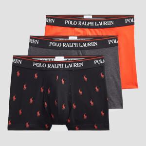 Polo Ralph Lauren Men's Stretch Cotton 3 Pack Trunks - Black/Heather/Orange
