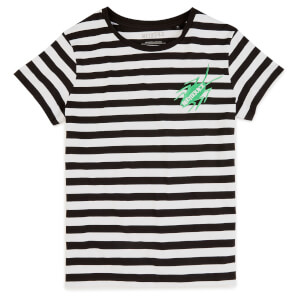 Beetlejuice Cockroach Embroidered Women's T-Shirt - White / Black Striped